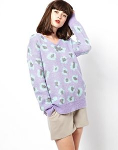 Image 1 ofBoutique by Jaeger Knitted Mohair Sweater in Leopard Print