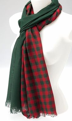 A unisex checked scarf suitable for either men or women Very long and wide one half of the scarf is checked and the other half is dark green