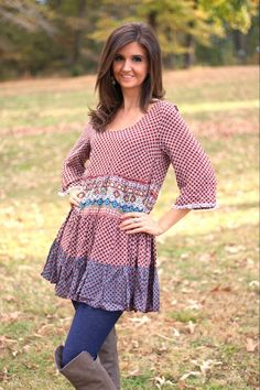 Umgee Mixed Print Peasant Dress in Sunset