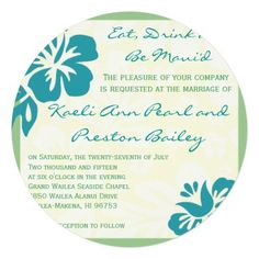 Beach Flowers Blue Green Wedding Invitation