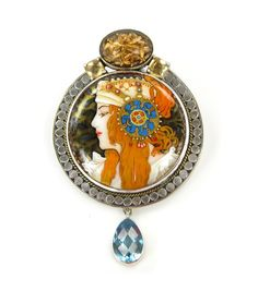 Russian Hand Painted Mucha Miniture Lady Pin - Pendant by Amy Kahn Russell
