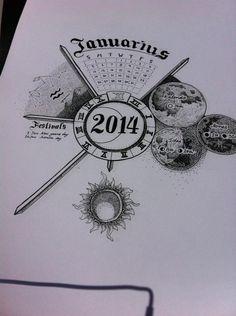 The final result of my moon research. A 2014 twelve month calendar. Bestival, Compass Tattoo, Over The Years, Calendar, Moon, The Moon, Life Planner, Menu Calendar