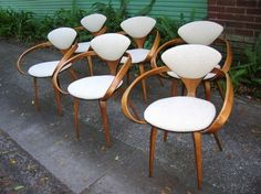 Rare set of 6 Plycraft pretzel chairs designed by Norman Cherner 60's?