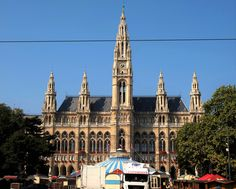 https://flic.kr/p/MHiFQB | Vienna |  Wiener Rathaus is the city hall of Vienna. Constructed from 1872 to 1883 in a Neo-Gothic style according to plans by Friedrich von Schmidt, it houses the office of the Mayor of Vienna as well as the chambers of the city council and Vienna Landtag diet.   A circus was setting up in front of the complex.