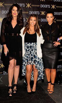 Kim Kardashian With Sisters Kourtney Kardashian And Khloe Kardashian At The Kardashian Kollection Launch At Sears, 2012