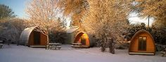 Camping Pods in the snow at the Old Rectory Caravan and Camping Park, Tavistock