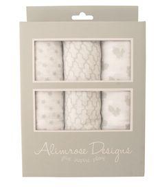 Alimrose 100% Cotton Muslin Set - Star/Mosaic/Bunny Grey - Ultra soft 100% cotton muslin wraps in beautiful box. The perfect newborn gift!