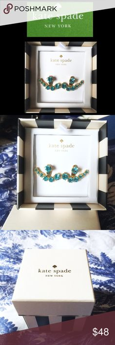 ♠️kate spade♠️Blue Earrings Kate Spade blue rhinestones in a gold tone setting.  Main stud and jackets.  New with tags and box included, never used or worn.  Retired design. 💕🎀Bundle for discount!🎀💕  💋💋Amy kate spade Jewelry Earrings