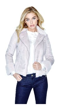 Faux-Shearling Bomber Jacket | GUESS.com Winter Fashion 2016, Jackets For Women, Clothes For Women, Pink Jacket, Guess Jeans, Jeans Style, Bomber Jacket, Leather Jacket, Fashion Outfits