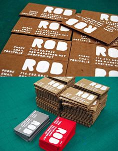 cardboard business cards.