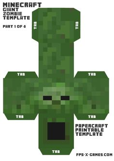 Minecraft papercraft, printable mob cut out character zombie.  Part 1-4