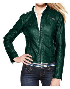#GreenLeather #Biker #Jacket is with the straps buttoned on shoulders with full sleeves zipper cuffs for ease and hemline at the bottom for #women. Green Leather Jackets, Lambskin Leather Jacket, Coats For Women, Jackets For Women, Ladies Coats, Green Fashion, Green Jacket, Moto Jacket, The Ordinary