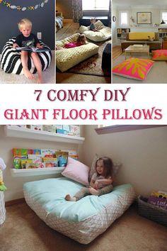 Giant Floor Cushions, Oversized Floor Pillows, Couch Cushions, Floor Pillows Kids, Futons, Ideias Diy, Baby Pillows, Diy Pillow Chair, Pink Pillows