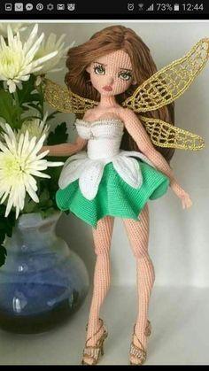 Amigurumi Tinkerbell Free Crochet Pattern - Just DIY Crochet Dolls Free Patterns, Crochet Doll Pattern, Amigurumi Patterns, Amigurumi Doll, Doll Patterns, Amigurumi Tutorial, Crochet Fairy, Cute Crochet, Crochet Toys