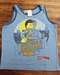 Lego The Movie Everything Is Awesome Boys Medium Tank Top #Lego