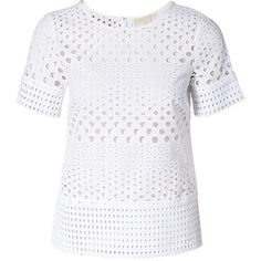 MICHAEL Michael Kors Circle Eyelet T-Shirt ❤ liked on Polyvore featuring tops, t-shirts, cotton tee, cotton t shirts, relaxed fit tops, eyelet top and relaxed fit t shirt