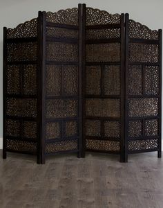 A possible headboard?  Happens to be 203cm, perfect width for a king bed... Moroccan Style Wood Partition Room Divider Screen Antique Finish
