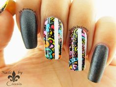 Nails by Cassis: 31DC2014 - Stripes: Flower Stamping Mani with White Stripes
