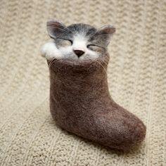 Тихий час кот, игрушка из шерсти, валяшка, ручная работа, творчество, длиннопост