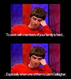 Noel on Liam Brit Pop Music, Oasis Band, Liam And Noel, Martin Gore, Band Nerd, Damon Albarn, Liam Gallagher, Britpop, Music Memes