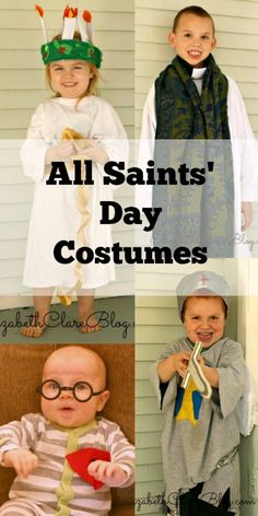 Use what you have around the house to make a last minute All Saints' Day Costume. St. Lucia, St. John Vianney, St. Michael, and St. Maximilian Kolbe