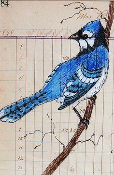 Primitive Folk Art Blue Jay and Vintage Paper by digiliodesigns, $9.00