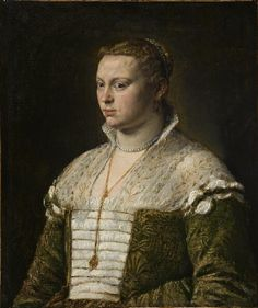 Portrait of a Lady,	after 1570    Jacopo Bassano (Jacopo da Ponte)  Italian, 1510-1592  Oil on canvas  31 x 25-3/4 in. (78.7 x 65.4 cm)  The Norton Simon Foundation    Interesting partlet as well as for the wonky laces.  nice to know I'm not the only one who can't keep their laces straight.