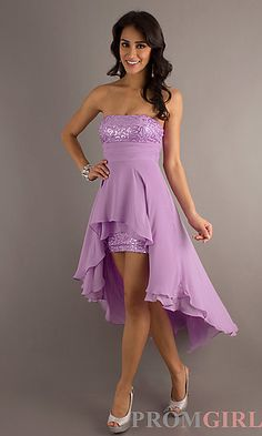 Strapless High Low Dress at PromGirl.com Comes in white.