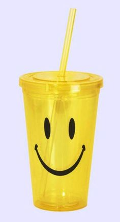 SMILEY FACE ACRYLIC DOUBLE WALL INSULATED CUP W/ ACRYLIC STRAW SQ D5