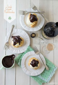 These easy-to-make choux pastry puffs are filled with a fluffy Baileys Irish Cream mousse and covered with a luscious dark chocolate ganache.  Get the recipe at Baking a Moment.