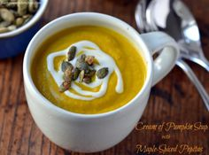 Cream of Pumpkin Soup with Maple-Spiced Pepitas - #vegan #glutenfree #soyfree #oilfree by Dreena Burton, plant-powered kitchen