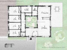 Plan de maison ordonnancée sur un patio central définissant clairement les espaces dit de jour et les espaces dit de nuit. Projet aisément adaptable en maison ossature bois.