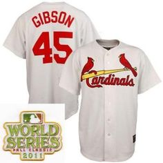 St.Louis Kardinalen 45 Bob Gibson Wit 2011 World Series Fall Cl