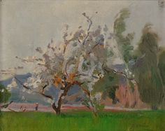 Spring Landscape, Impressionist, To My Daughter, Composition, Original Paintings, Gallery, Apple Blossoms, Oil, Architecture