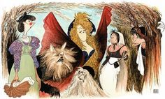 "Headline: ""Into The Woods"" Has Full Cast, Started Rehearsal Aaaand Some Controversy... (Yes. Already.)"" (Thursday, August 8, 2013) Image credit: Al Hirschfeld ♛ Once Upon A Blog... fairy tale news ♛"