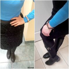 OOTD: Black Ann Taylor skirt with leather detailing, J.Crew sweater, Steve Madden boots, pink pewter accessory. Office Appropriate!