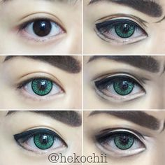 Highly requested Eren Jaeger eye tutorial! Now considering requests in the comments (Green purple blue and red eyed characters) Lenses are EOS New Adult Green from @uniqso Also questions are answered in comments!