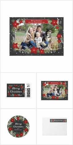 Chalkboard Poinsettia Christmas Collection | Photo card, return address label, postage stamp, sticker