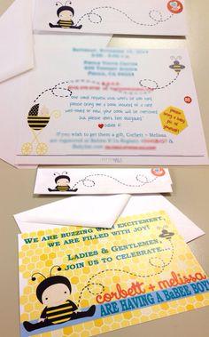 Honeybee baby shower invitations by September Blooms