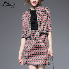 2016 Autumn Women's Suit Plaid Jacquard Slim O-Neck Half Sleeve Jacket + Skirts 2 Pieces Sets Women