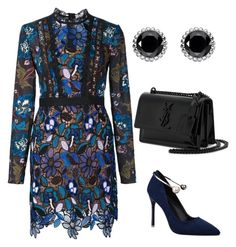 """""""Untitled #727"""" by mchlap on Polyvore featuring self-portrait, Yves Saint Laurent and Thomas Sabo"""