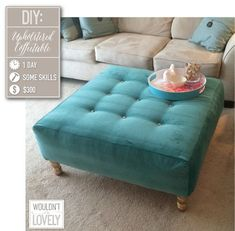 DIY upholstered ottoman, How to build your own coffee table, DIY tufting, velvet ottoman, DIY home decor, DIY furniture, Wouldn't it be Lovely #diyottomantufted