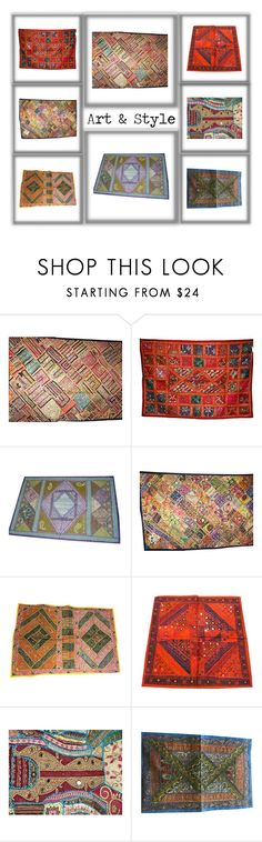 """Embroidered Ethnic traditional Patchwork Tapestry"" by mogulgallery-1 on Polyvore featuring interior, interiors, interior design, home, home decor, interior decorating, WALL, colorfultapsetry, beadedembroideredtapestry and uniquetapestry"