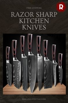 Make your life easier in the kitchen with a knife to match any cutting job. You'll always have the perfect knife for the occasion. Kitchen Utensils, Kitchen Tools, Kitchen Gadgets, Cooking Utensils, Cooking Gadgets, Cooking Tools, Cooking Equipment, Damascus Kitchen Knives, Japanese Kitchen Knives