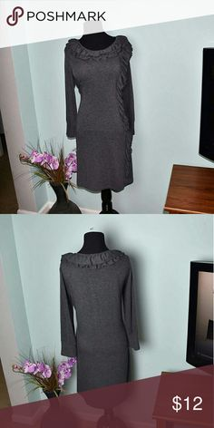 Beautiful Grey Ruffle Dress In great condition! Very soft and comfortable! Dresses Midi
