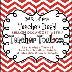 Back to School - Red Chevron Teacher Toolbox and 3-Drawer Labels $