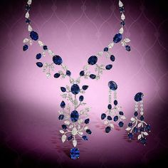 A captivating, luxurious sapphire and diamond necklace and earrings set from @moussaieffjewellers