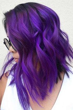Bright Purple Hair, Deep Purple Hair, Hair Color Purple, Hair Color 2017, Blue Hair, Wavy Hair, Blue Ombre, Cool Hair Color, Beautiful Hair Color
