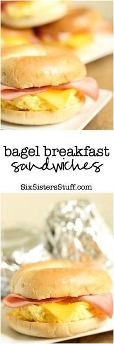 Bagel Breakfast Sandwiches (Freezer meal!) - Six Sisters' Stuff