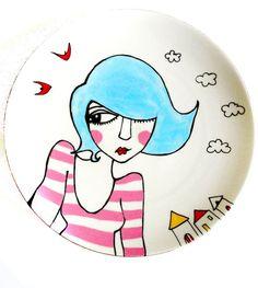 SEASIDE SUZIE painted vintage plate by bettyraspberry on Etsy, $42.00